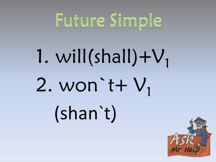 Future Simple1. will(shall)+V12. won`t+ V1    (shan`t)