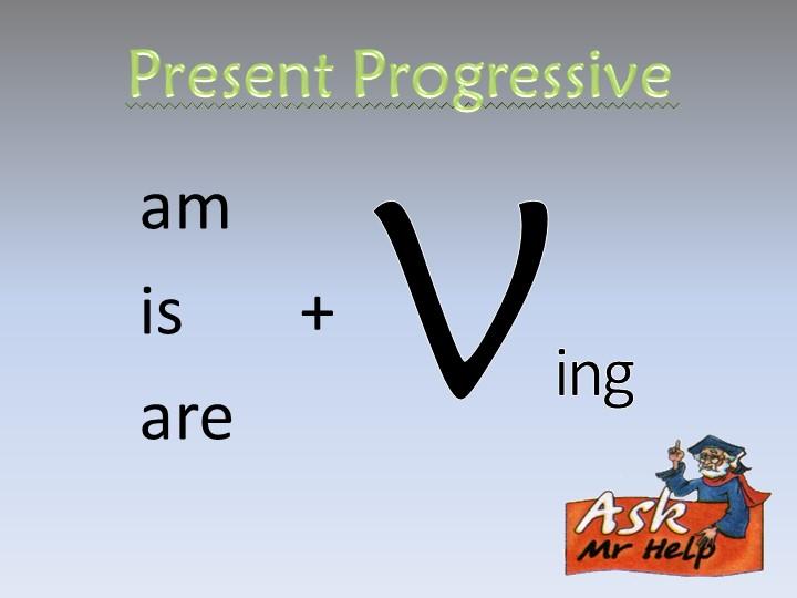 Present Progressiveamis       +    areVing