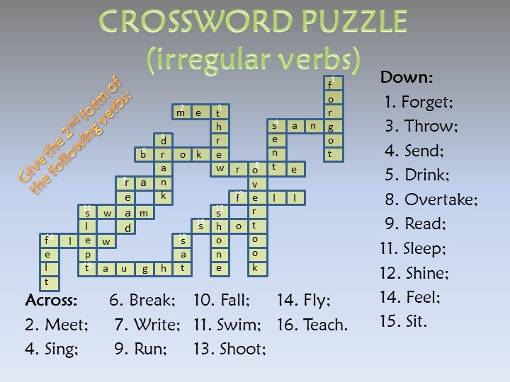 CROSSWORD PUZZLE(irregular verbs)Give the 2nd form of the following verbs:Ac...