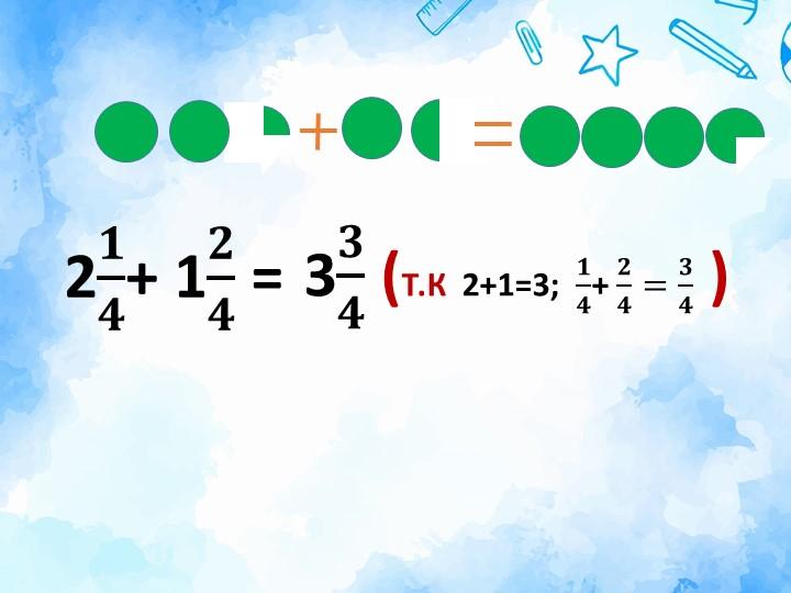 2 𝟏 𝟒 + 1 𝟐 𝟒  = 3 𝟑 𝟒  (Т.К  2+1=3;   𝟏 𝟒 +  𝟐 𝟒 = 𝟑 𝟒  )