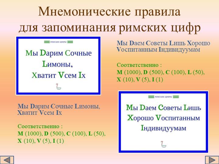 Мнемонические правила для запоминания римских цифр     Мы Dарим Сочные Lимон...