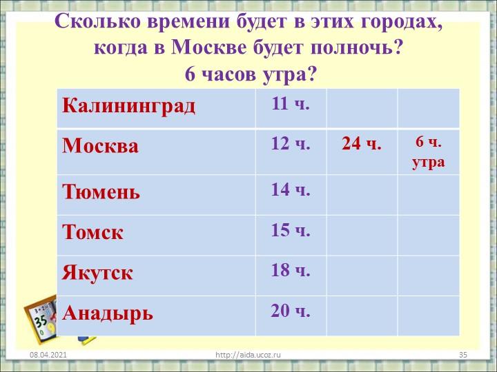 Сколько времени будет в этих городах, когда в Москве будет полночь?  6 часов...