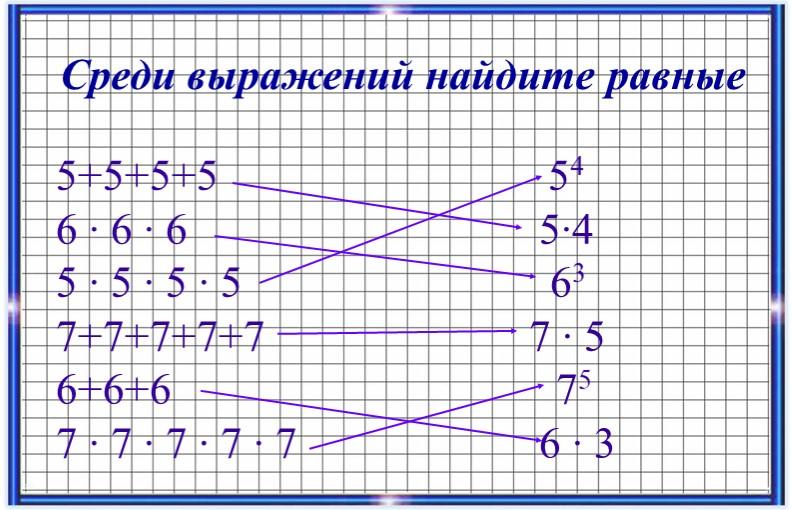 Среди выражений найдите равные5+5+5+5                              546 ∙ 6 ∙...
