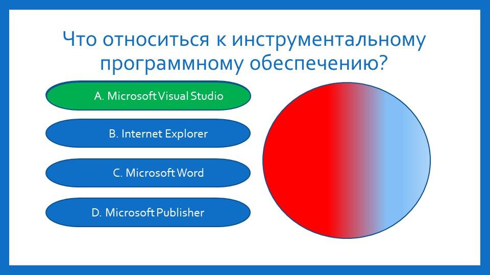Что относиться к инструментальному программному обеспечению?A.Microsoft Visua...