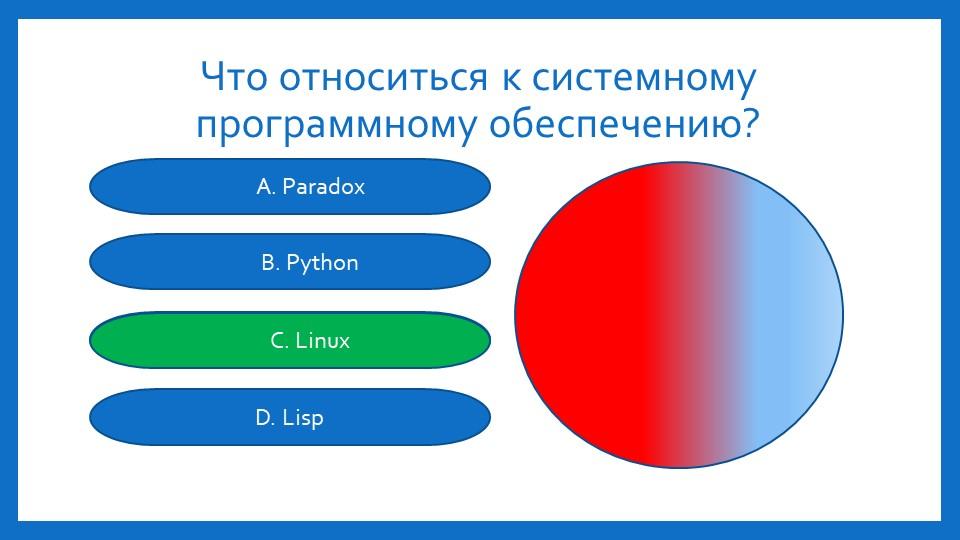 Что относиться к системному программному обеспечению?A. ParadoxB. PythonC. Li...