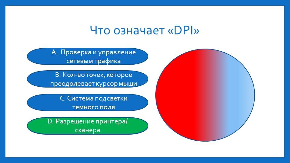 Что означает «DPI»А.  Проверка и управление сетевым трафикаВ. Кол-во точек, к...
