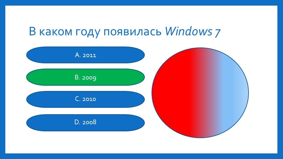 В каком году появилась Windows 7А. 2011B. 2009C. 2010D. 2008B. 2009