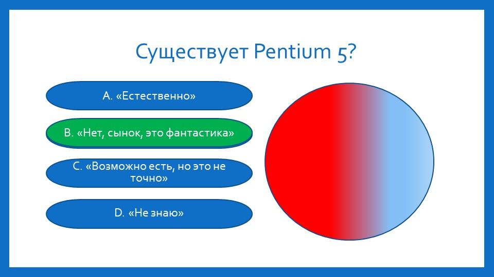 Существует Pentium 5?А. «Естественно»B. «Нет, сынок, это фантастика»C. «Возмо...
