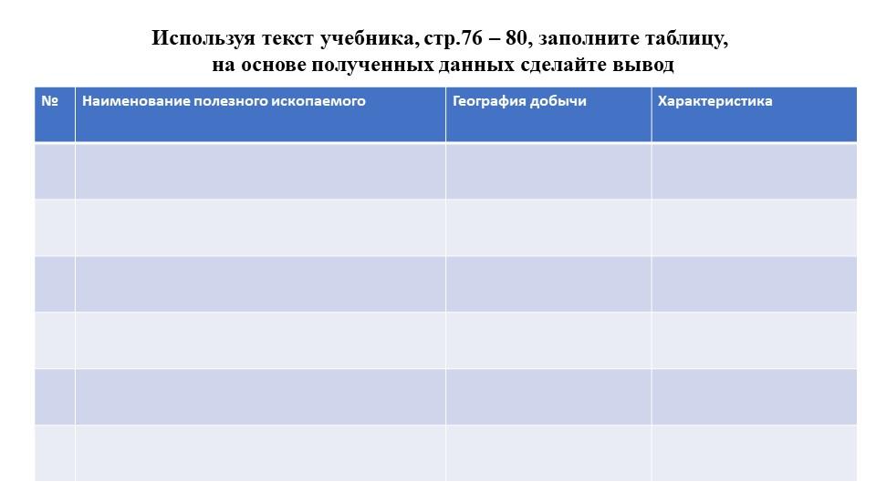 Используя текст учебника, стр.76 – 80, заполните таблицу, на основе полученн...