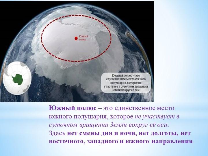 Южный полюс– это единственное место южного полушария, котороене участвует в...
