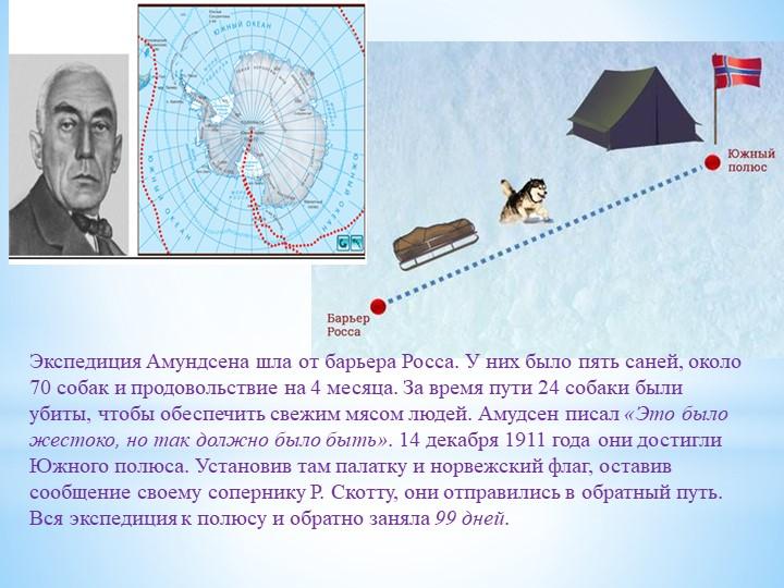 Экспедиция Амундсена шла от барьера Росса. У них было пять саней, около 70 со...