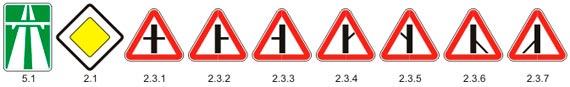 Знаки приоритета Главной дороги