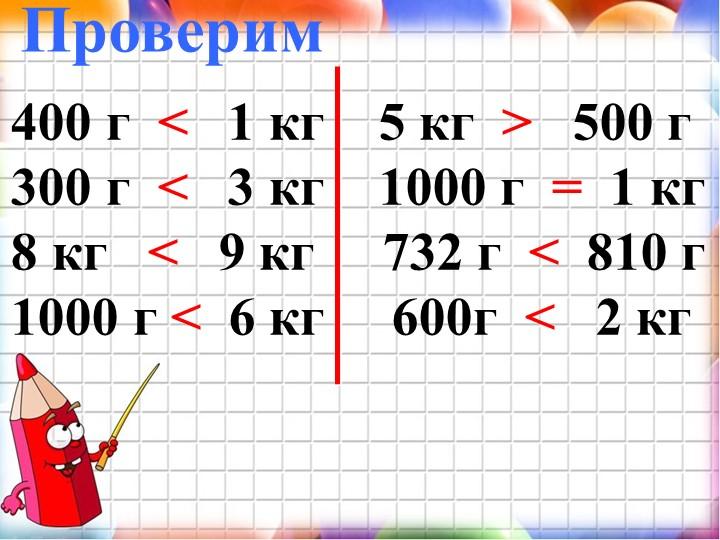 Проверим 400 г  ˂   1 кг    5 кг  ˃   500 г 300 г  ˂   3 кг    1000 г  =  1 к...