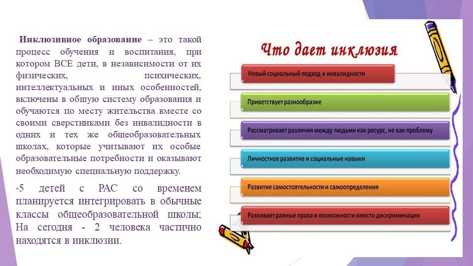 Инклюзивное образование – это такой процесс обучения и воспитания, при котор...
