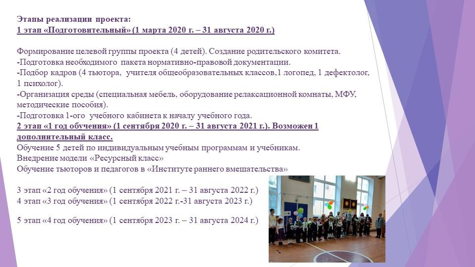 Этапы реализации проекта:1 этап «Подготовительный» (1 марта 2020 г. – 31 авг...