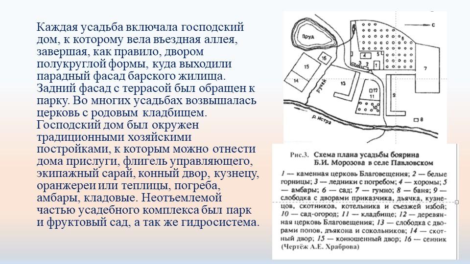 Каждая усадьба включала господский дом, к которому вела въездная аллея, завер...