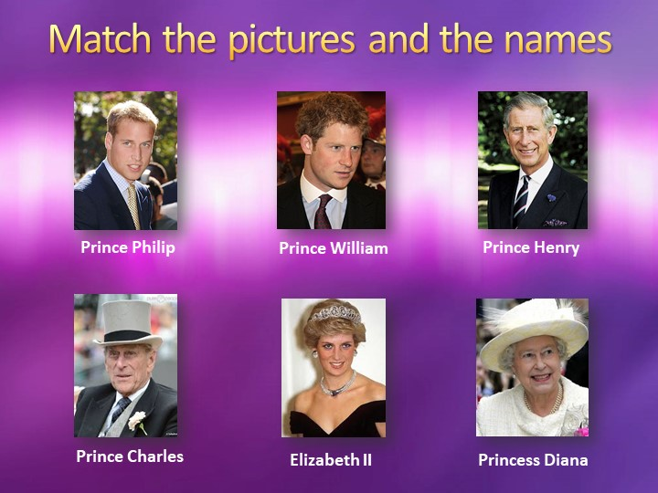 Match the pictures and the namesElizabeth II Prince PhilipPrince CharlesPrin...