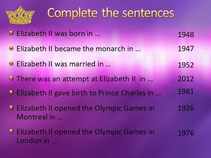 Complete the sentencesElizabeth II was born in …1976Elizabeth II was married...