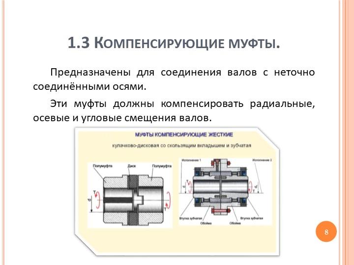 1.3 Компенсирующие муфты.Предназначены для соединения валов с неточно соединё...