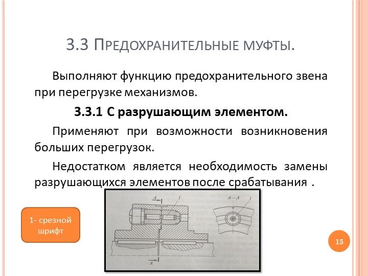 3.3 Предохранительные муфты.Выполняют функцию предохранительного звена при пе...