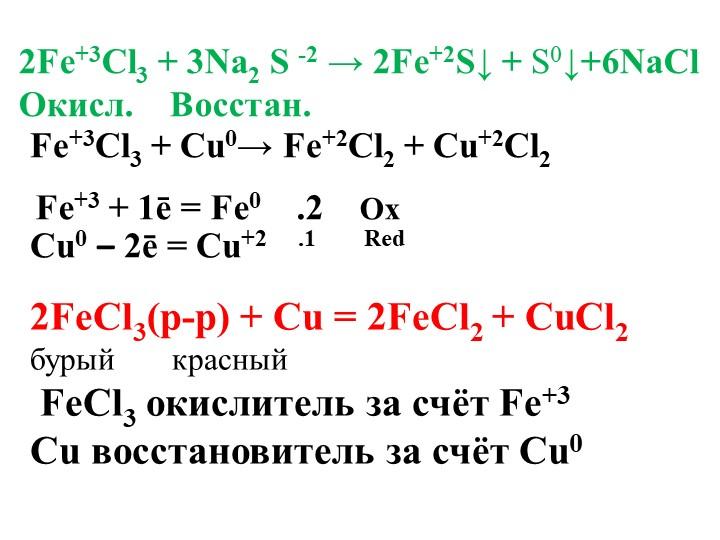 2Fe+3Cl3 + 3Na2 S -2 → 2Fe+2S↓ + S0↓+6NaClОкисл.    Восстан.Fe+3Cl3 + Cu0→...