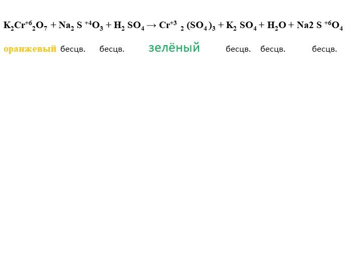K2Cr+62O7 + Na2 S +4O3 + H2 SO4 → Cr+3 2 (SO4 )3 + K2 SO4 + H2O + Na2 S +6O4о...