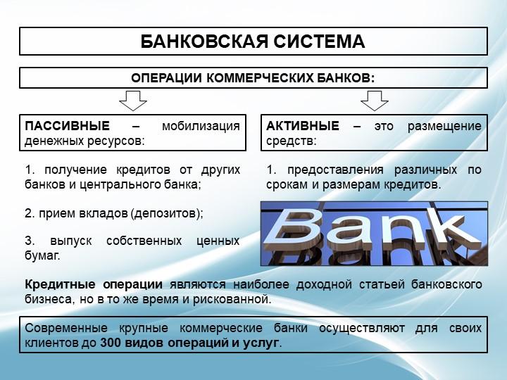БАНКОВСКАЯ СИСТЕМАОПЕРАЦИИ КОММЕРЧЕСКИХ БАНКОВ:ПАССИВНЫЕ – мобилизация денежн...