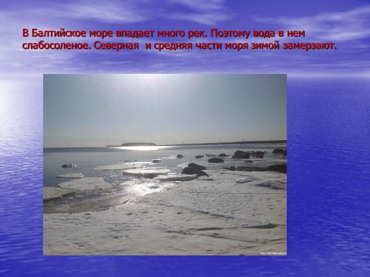 В Балтийское море впадает много рек. Поэтому вода в нем слабосоленое. Северна...