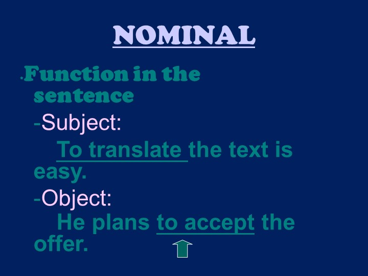 NOMINAL*Function in the sentence-Subject: To translate the text i...
