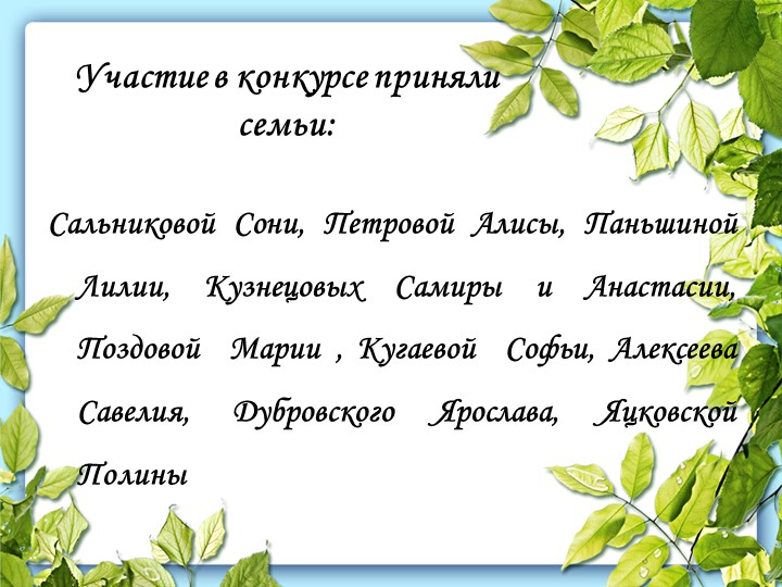 Участие в конкурсе приняли семьи:Сальниковой Сони, Петровой Алисы, Паньшиной...