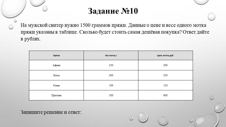 Задание №10На мужской свитер нужно 1500 граммов пряжи. Данные о цене и весе о...