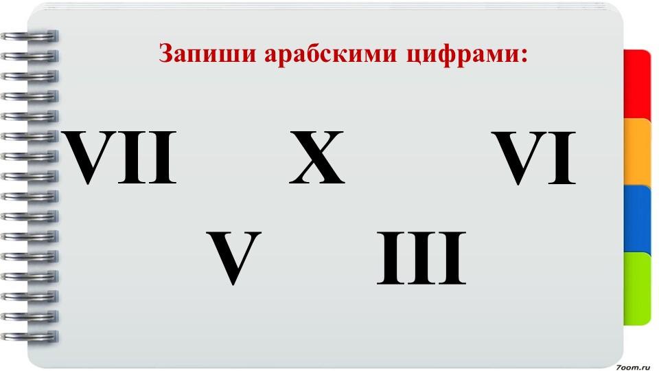 Запиши арабскими цифрами:VIIVXIIIVI