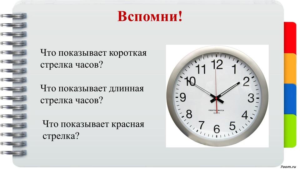 Вспомни!Что показывает короткая стрелка часов?Что показывает длинная стрелка...