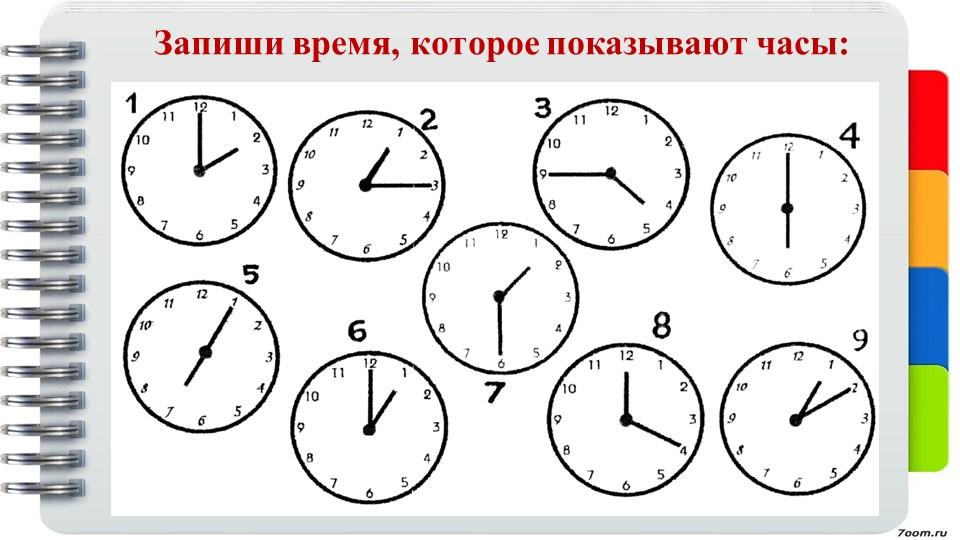 Запиши время, которое показывают часы: