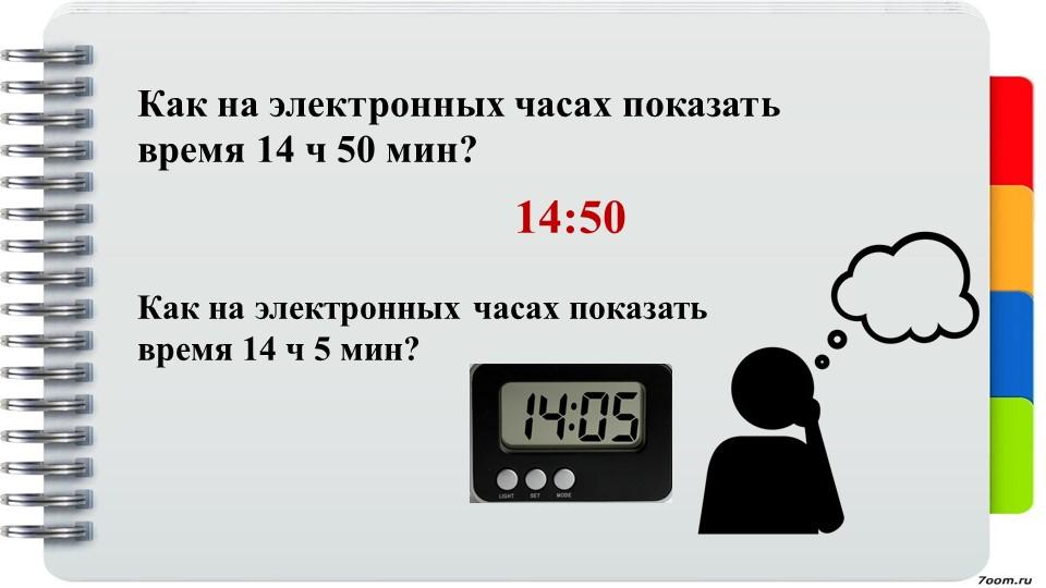 Как на электронных часах показать время 14 ч 50 мин?14:50Как на электронных ч...