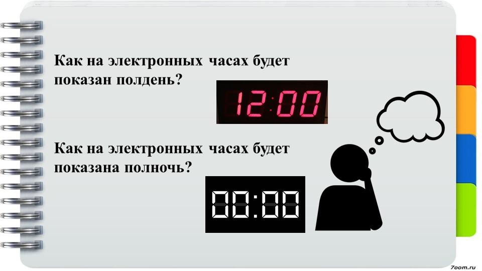 Как на электронных часах будет показан полдень?Как на электронных часах будет...