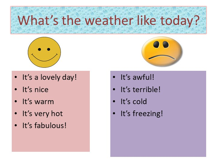 What's the weather like today?It's a lovely day!It's niceIt's warmIt's ver...