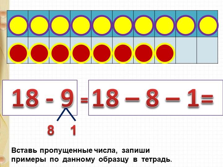 18 - 918 – 8 – 1= Вставь пропущенные числа,  запиши  примеры  по  данному...