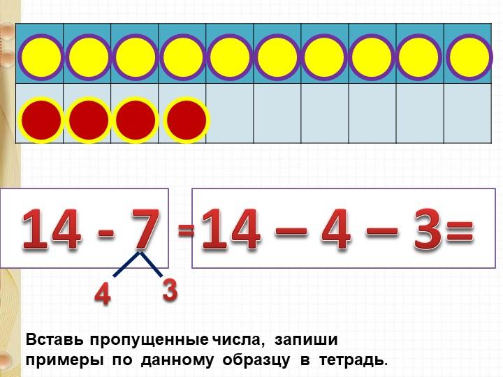 14 - 714 – 4 – 3= 43Вставь пропущенные числа,  запиши  примеры  по  данному...
