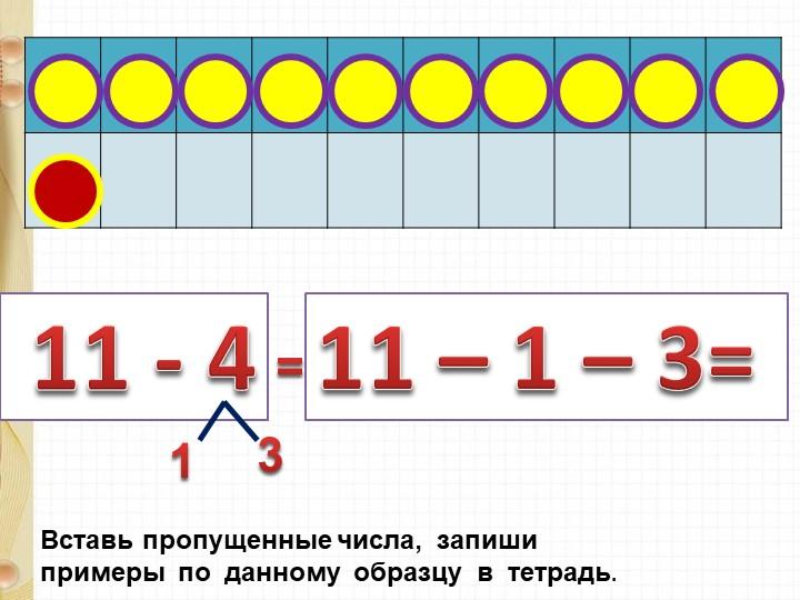 11 - 411 – 1 – 3= Вставь пропущенные числа,  запиши  примеры  по  данному...