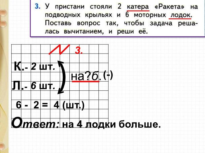 6 -  2 =  4 (шт.)на 4 лодки больше.Ответ: 3.К.- 6 шт.2 шт.Л.- (-))на?б.