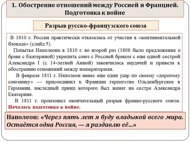 Разрыв русско-французского союза  В 1810 г. Россия практически отказалась от...
