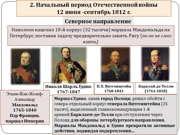 Николя Шарль Удино1767-1847Северное направлениеНаполеон нацелил 10-й корпус...