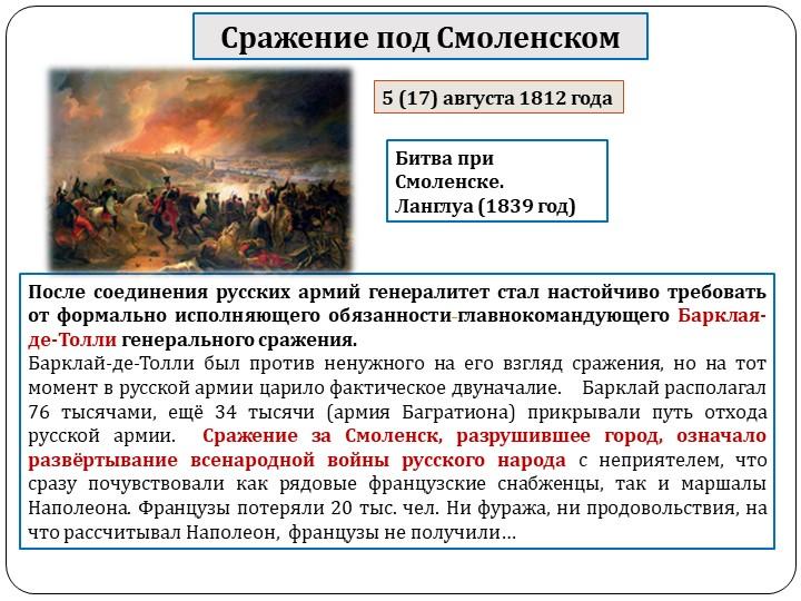 Сражение под СмоленскомПосле соединения русских армий генералитет стал настой...