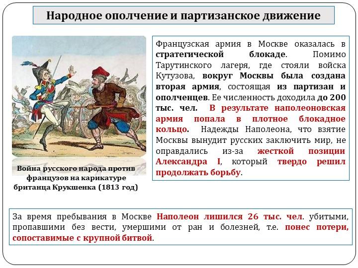 Народное ополчение и партизанское движениеФранцузская армия в Москве оказалас...