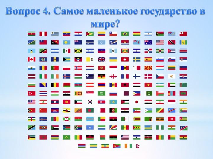Вопрос 4. Самое маленькое государство в мире?