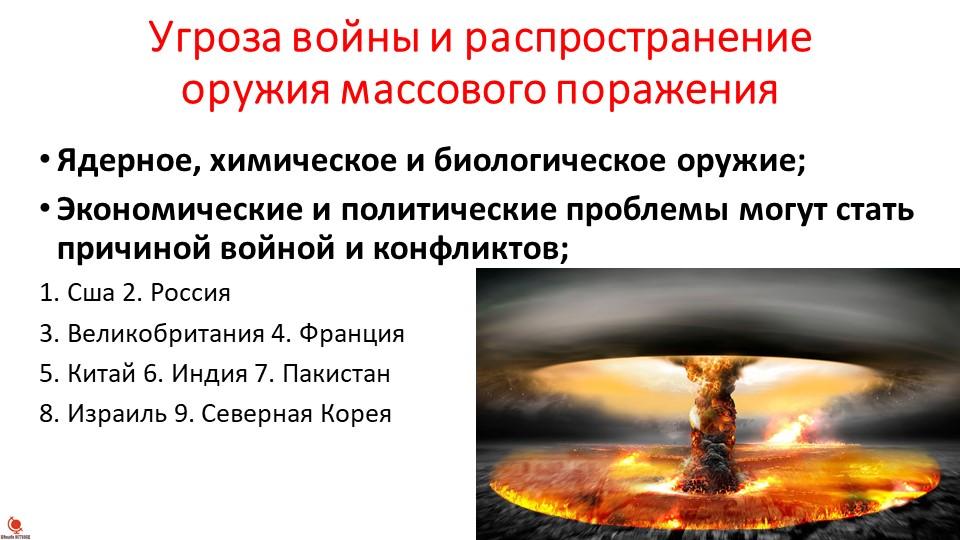 Угроза войны и распространение оружия массового пораженияЯдерное, химическое...