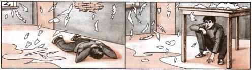 При угрозе взрыва ложитесь на живот подальше от окон, дверей и лестниц, прикрывая голову руками. Справа — стол (если под него спрятаться) может защитить от падающих предметов и обломков