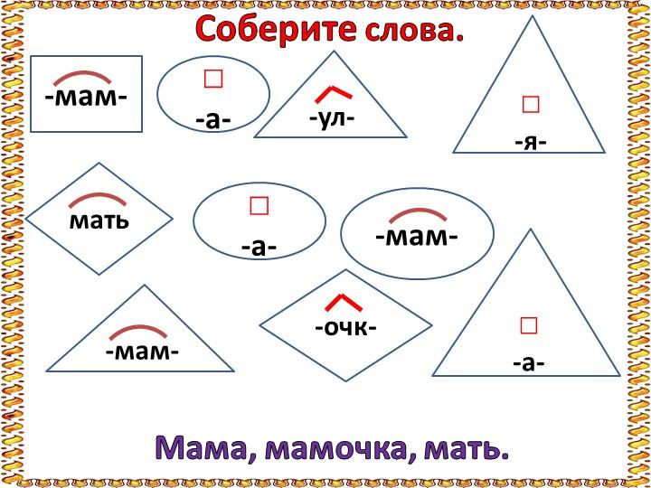 Соберите слова.-мам-□-а- -ул-□-я-мать□-а- -мам- -мам--очк-□-а-Мама, мамоч...