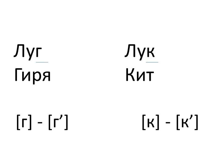 Луг ЛукГиряКит [г] - [г']                 [к] - [к']